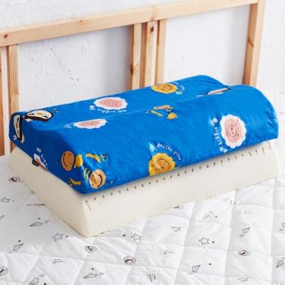 奶油獅 同樂會系列-乳膠記憶大枕專用100%純棉工學枕頭套(宇宙藍)二入