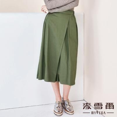 【麥雪爾】棉質打摺鬆緊腰身八分褲裙-綠