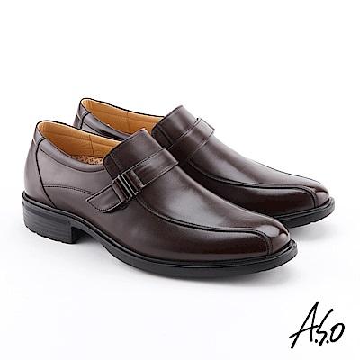 A.S.O 零壓挺力 牛皮扣帶奈米紳士鞋 咖啡