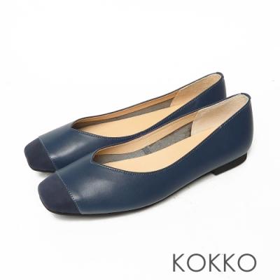 KOKKO超彈力方頭輕奢拼接真皮寬版平底鞋經典藍