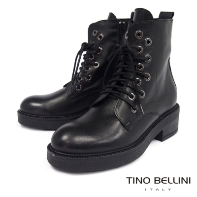 Tino Bellini義大利進口交錯鞋帶厚底中跟短靴_黑