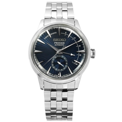 SEIKO 精工 PRESAGE 機械錶 動力儲存 自動上鍊 不鏽鋼手錶 深藍色/40mm