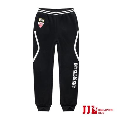 JJLKIDS 英字縮口徽章貼內刷毛休閒棉長褲(黑色)