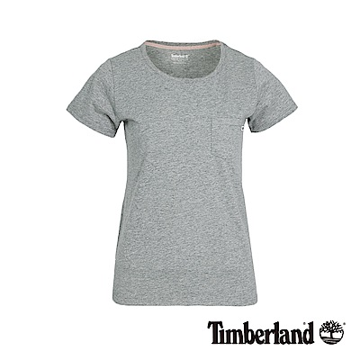 Timberland 女款淺灰色後下擺LOGO短袖T恤|B3507
