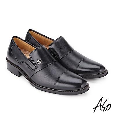 A.S.O 勁步雙核心 拼接牛皮奈米紳士鞋 黑
