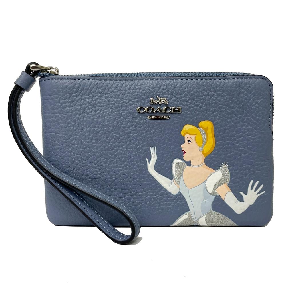 COACH X DISNEY限量聯名款公主系列手拿包零錢包(藍)