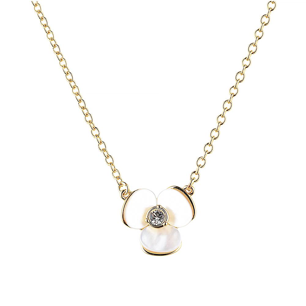 kate spade經典三色堇設計鑽鑲飾項鍊(金)