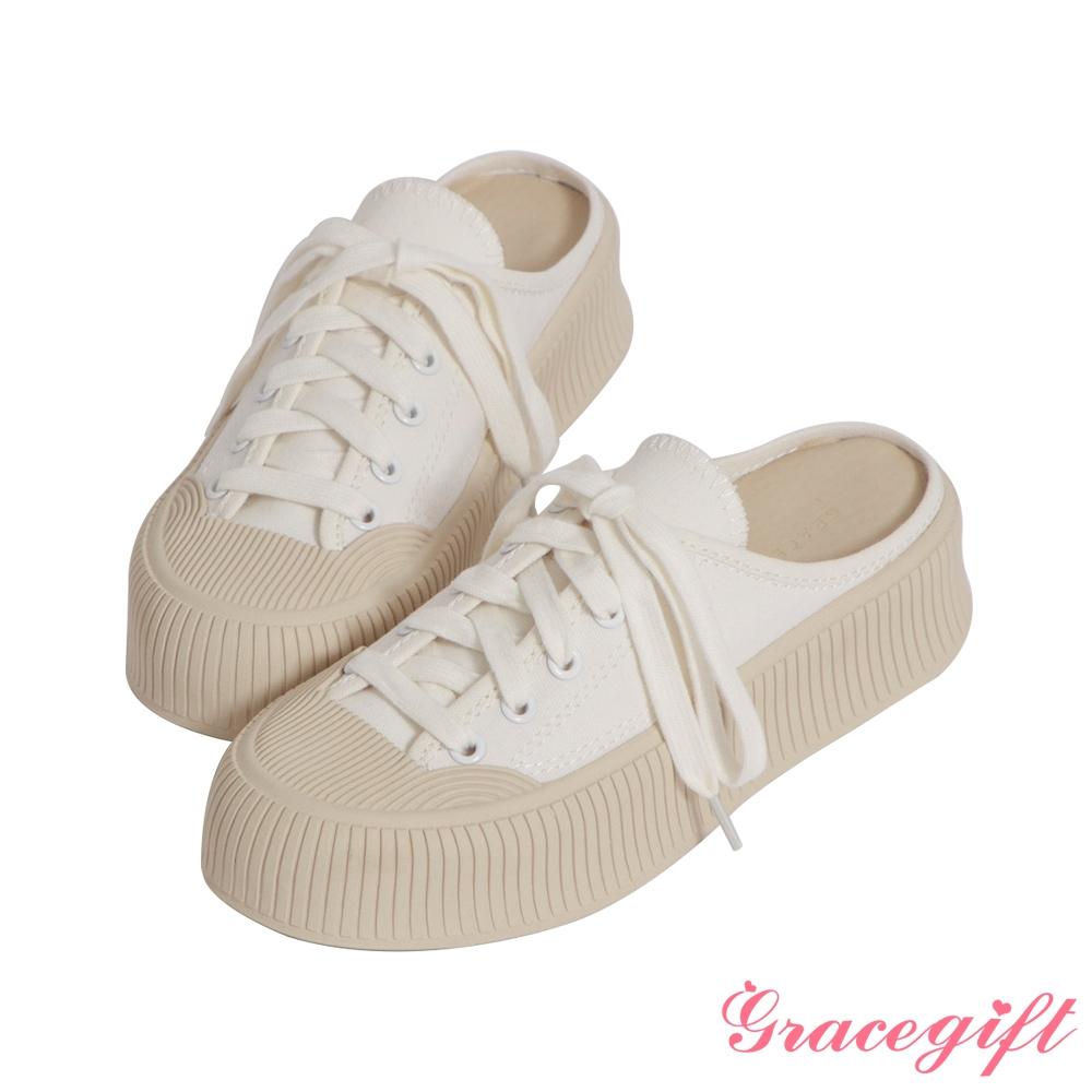 Grace gift-帆布厚底後空休閒鞋 白
