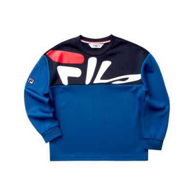 FILA KIDS 童長袖針織圓領T恤-藍色 1TET-8429-BU