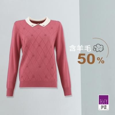 ILEY伊蕾 學院風格紋針織上衣(粉)
