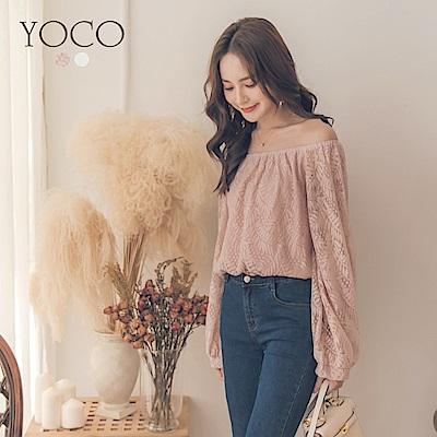 東京著衣-yoco 唯美甜氛一字領蕾絲澎澎袖上衣-S.M.L(共二色)
