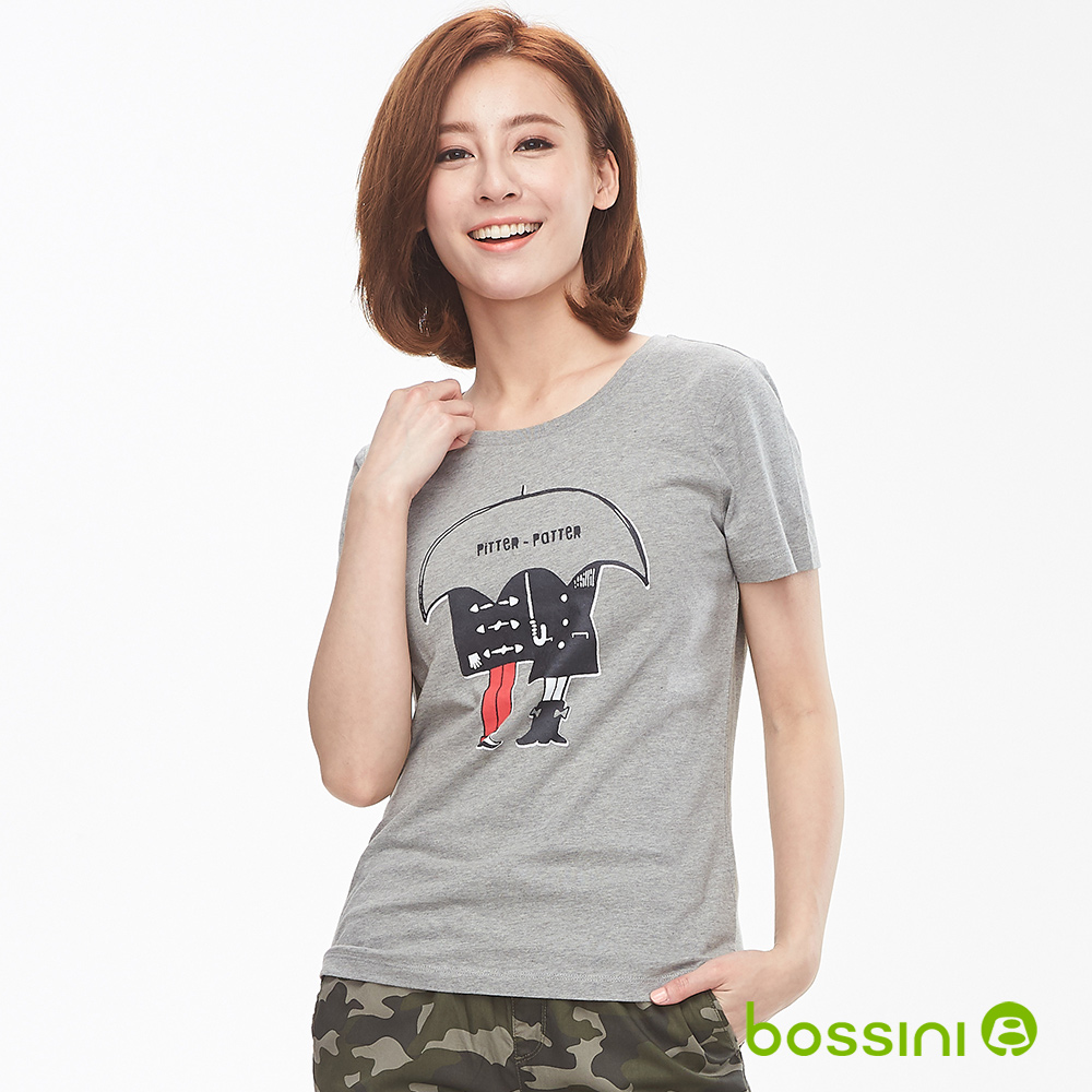 bossini女裝-印花短袖T恤17淺灰