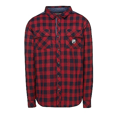 FILA 男款格紋襯衫-桔紅 1WSS-5703-OR