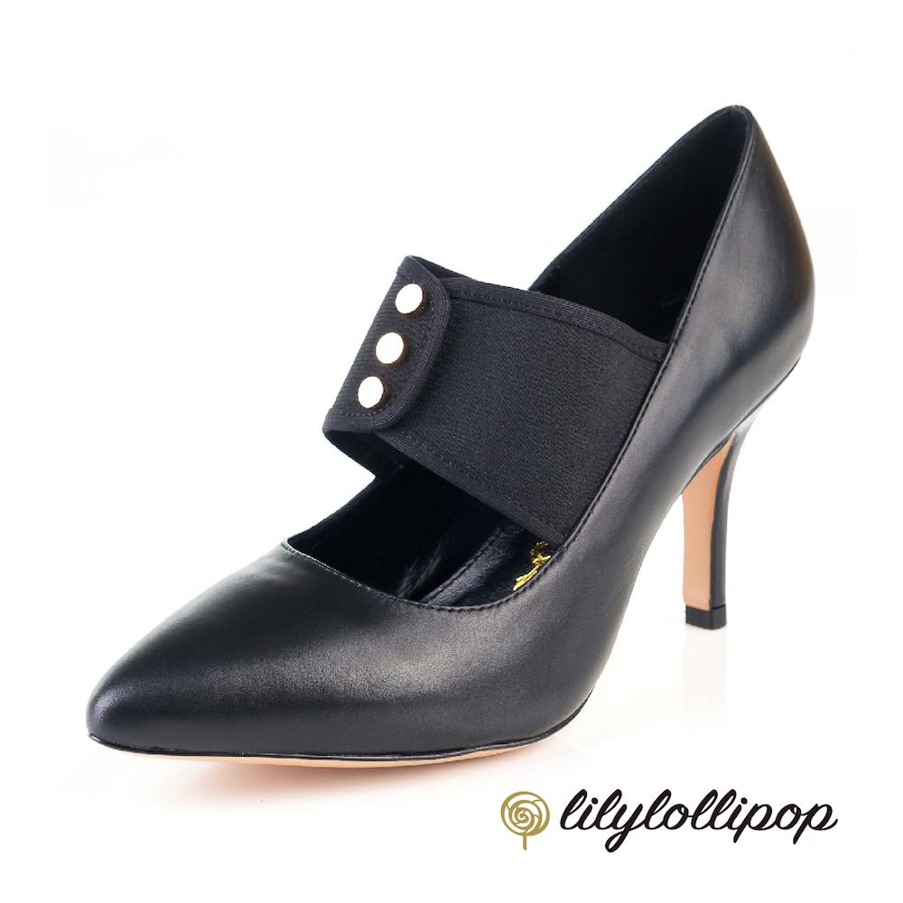 Lilylollipop-Luxury 繃帶釘釦復古跟鞋--黑