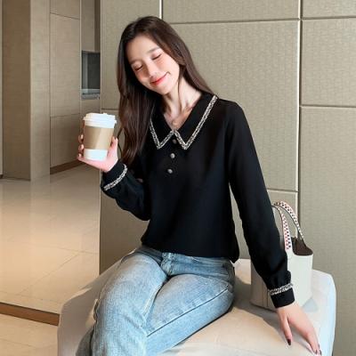 2F韓衣-韓系娃娃領排釦造型內毛絨上衣-黑色(S-2XL)