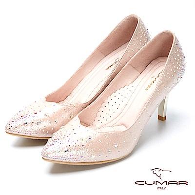 CUMAR璀璨閃耀-波浪邊水鑽點綴高跟鞋