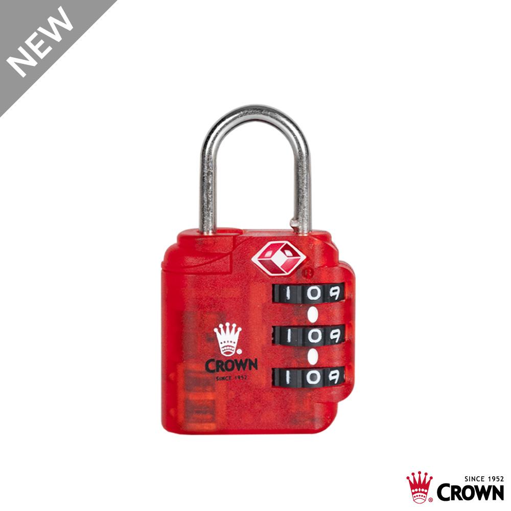 CROWN 皇冠 TSA海關密碼鎖 鎖頭掛鎖 透明紅