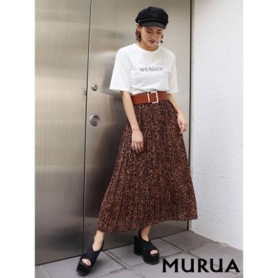 MURUA 豹紋圖騰不對稱百褶長裙