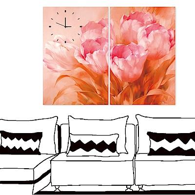 美學365 二聯 無框畫時鐘掛畫-粉紅花卉 40x60cm