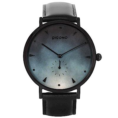 PICONO A week 系列 渲染簡約黑色真皮錶帶手錶 / AW-7603