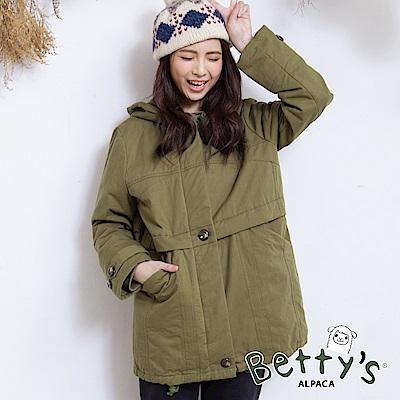 betty's貝蒂思 連帽抽繩鋪棉大衣(綠色)