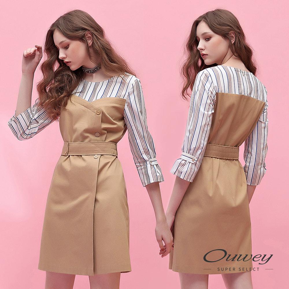 OUWEY歐薇 大地色拼接條紋圓領洋裝(可)