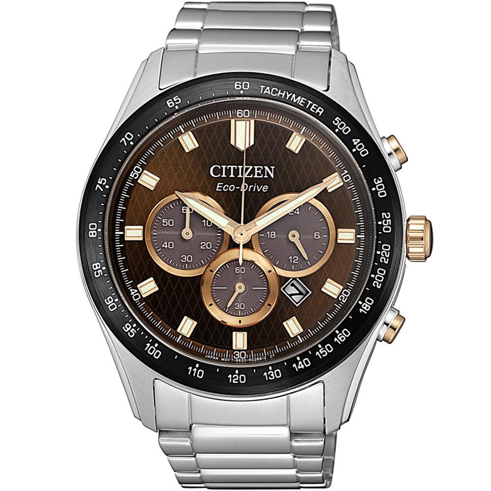 CITIZEN星辰 光動能 亞洲限定三眼計時男錶(CA4456-83X)-咖啡/43mm