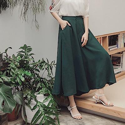 純色垂墜感不易皺寬擺雪紡褲裙-OB大尺碼