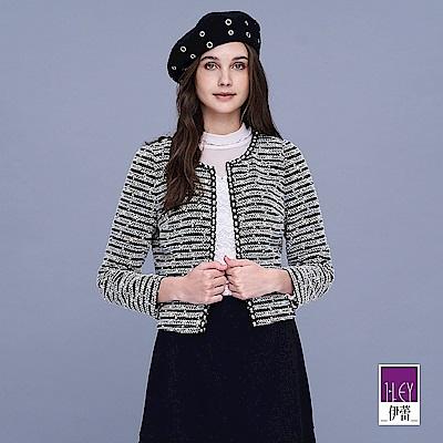 ILEY伊蕾 優雅小香風珍珠短版外套(黑)