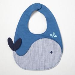 PIPPY 俏皮立體鯨魚噴水可愛圍兜 藍