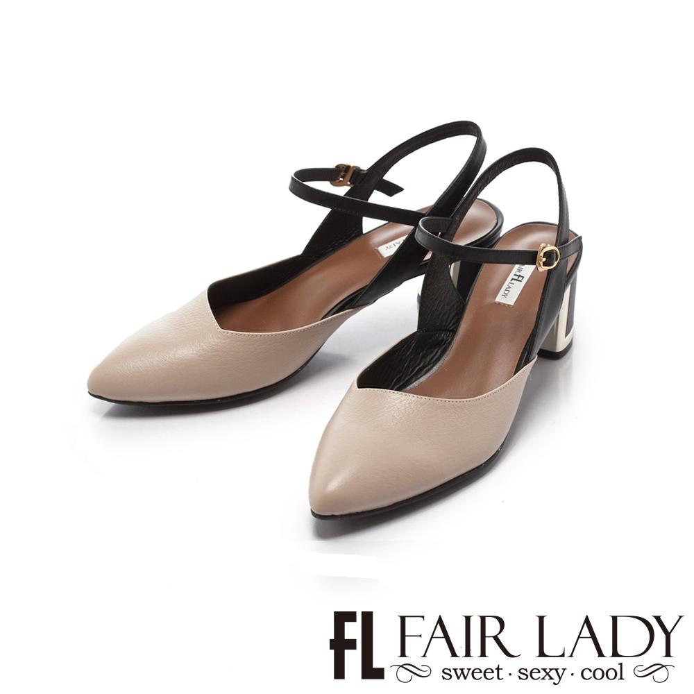 【FAIR LADY】優雅小姐Miss Elegant 尖頭金屬粗跟涼鞋 象牙