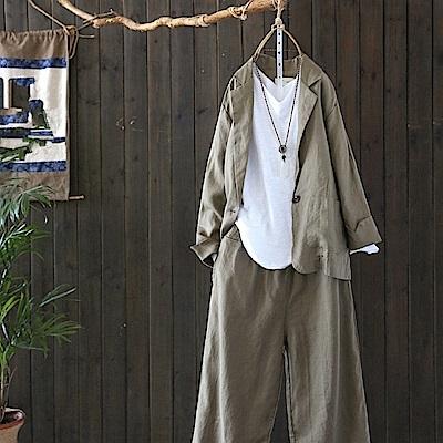 兩件套亞麻西裝外套休閒套裝/設計所在/Y4830
