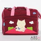 ABS貝斯貓 俏皮出遊貓咪拼布 旅遊專用行李袋(活力紅)88-129