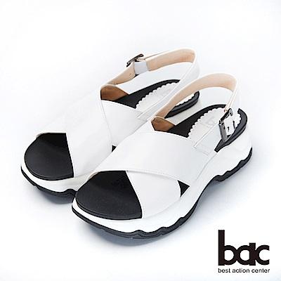 bac加州陽光-大交叉簡約純色運動風厚底涼鞋-白