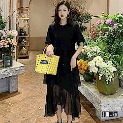Jilli-ko 法式高腰多層次連身裙- 黑/灰