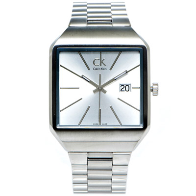 CK Calvin Klein Gent極簡方形款手錶(K3L31166)-銀面/47mm