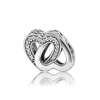 Pandora 潘朵拉 纏繞鑲鋯鏤空雙心 純銀墜飾 串珠
