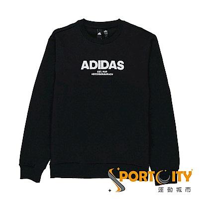 ADIDAS  男 運動休閒長袖上衣 黑-CZ9075