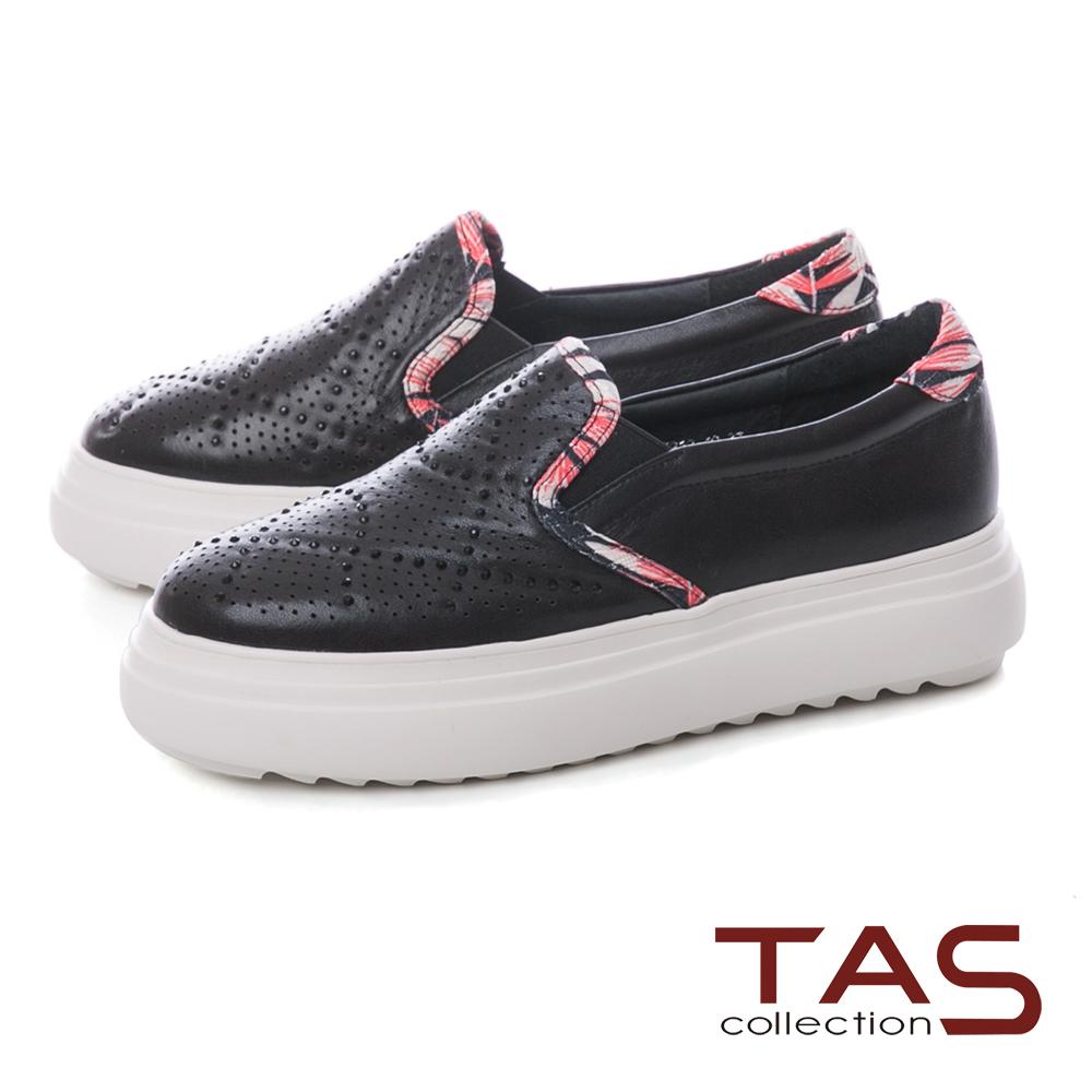 TAS 沖孔水鑽拼接花布厚底休閒鞋-低調黑