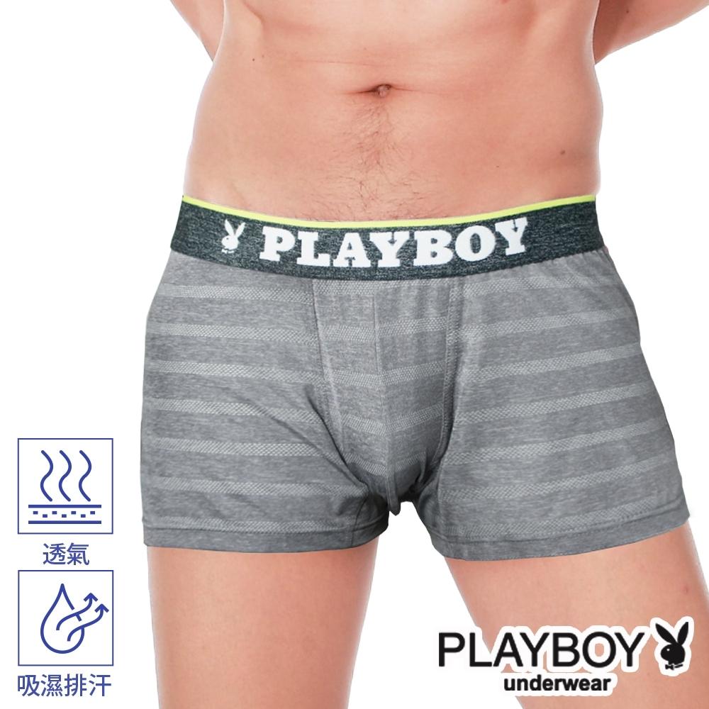 PLAYBOY男內褲 韓系輕時尚條紋四角褲 合身四角褲-單件-麻灰
