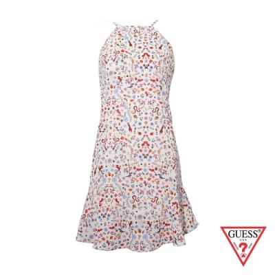 GUESS-女裝-印花露背連身裙-白