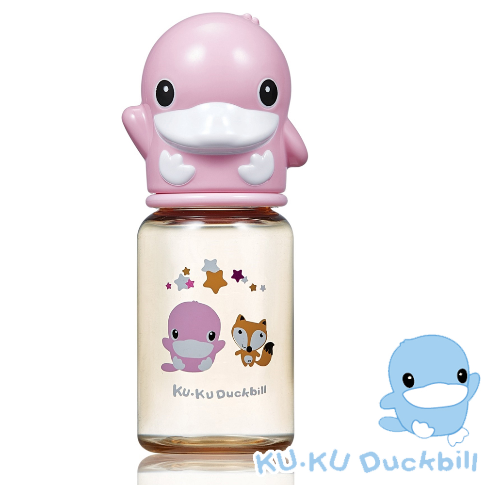 KU.KU酷咕鴨-星燦造型PPSU標準奶瓶-140ml (藍/粉)