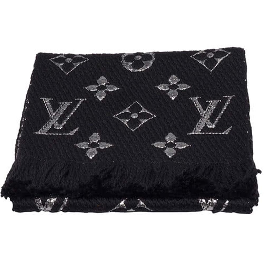 LV M75833 LOGOMANIA SHINE金銀紗羊毛針織圍巾(黑色)