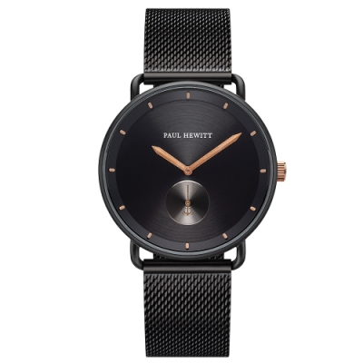 PAUL HEWITT BreakwaterLine時尚米蘭帶手錶-黑X玫瑰金/42mm
