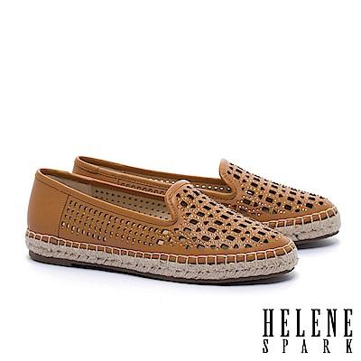 休閒鞋 HELENE SPARK 時尚造型沖孔晶鑽全真皮草編厚底休閒鞋-咖