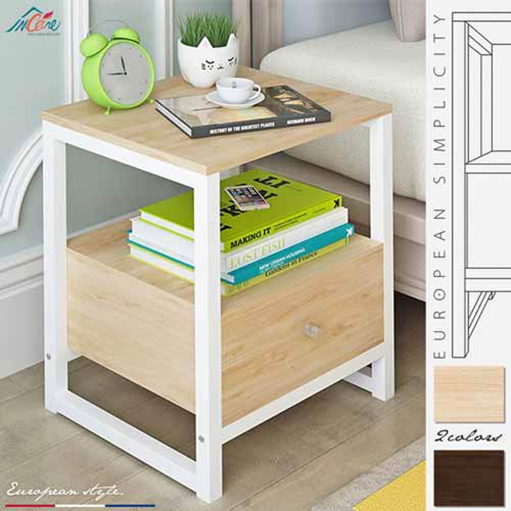 【Incare】木紋多功能收納置物小茶几(床邊櫃)-2色可選