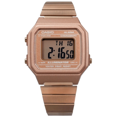 CASIO 卡西歐 復古文青 計時 防水 鬧鈴 不鏽鋼手錶 鍍玫瑰金色 B650WC-5A 38mm