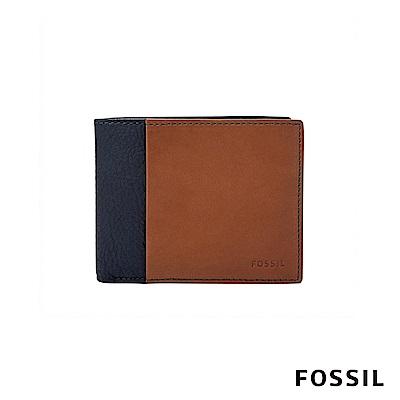 FOSSIL WARD 真皮帶翻轉證件格RFID男夾-深藍X褐色