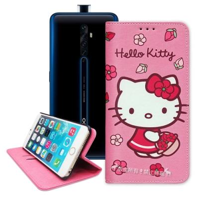 三麗鷗授權 Hello Kitty OPPO Reno2 Z 櫻花吊繩款彩繪側掀皮套