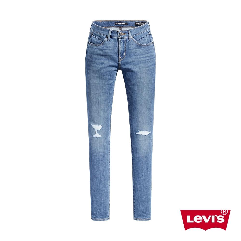 Levis 女款 Revel中腰緊身提臀牛仔褲 精緻刷破工藝 輕藍染水洗